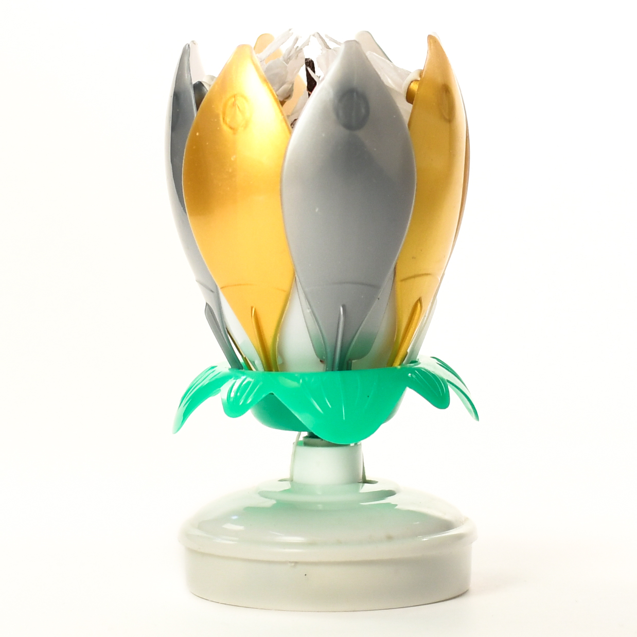 Gold silver white flower musical birthday candles lotus flower gold siver candle closed izmirmasajfo