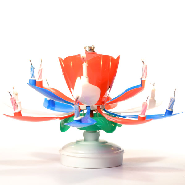 Red White And Blue Lotus Flower Musical Birthday Candles Spinning