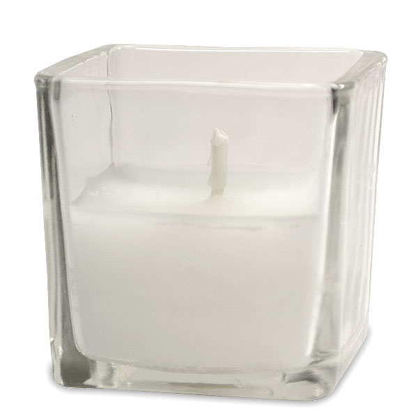 White Votive in Square Cup