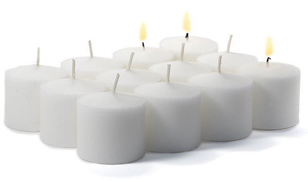 12 Unscented White Votives 10 Hour
