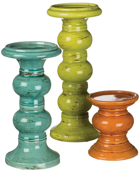 Pillar Holder Set Assorted Colors 3 Piece