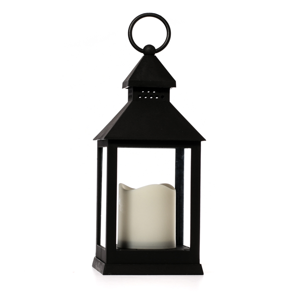 Flameless Candle In Plastic Black Lantern