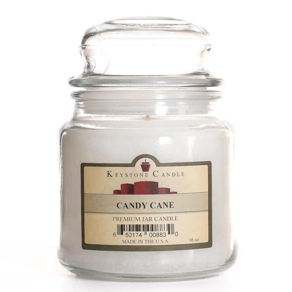 16 oz Candy Cane Jar Candles