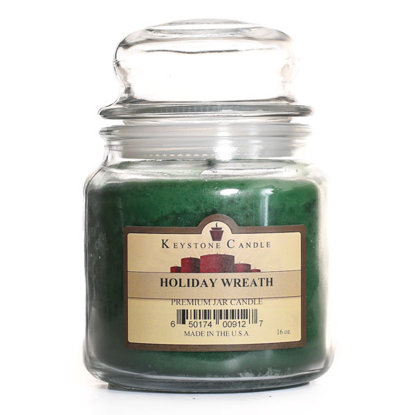 16 oz Holiday Wreath Jar Candles