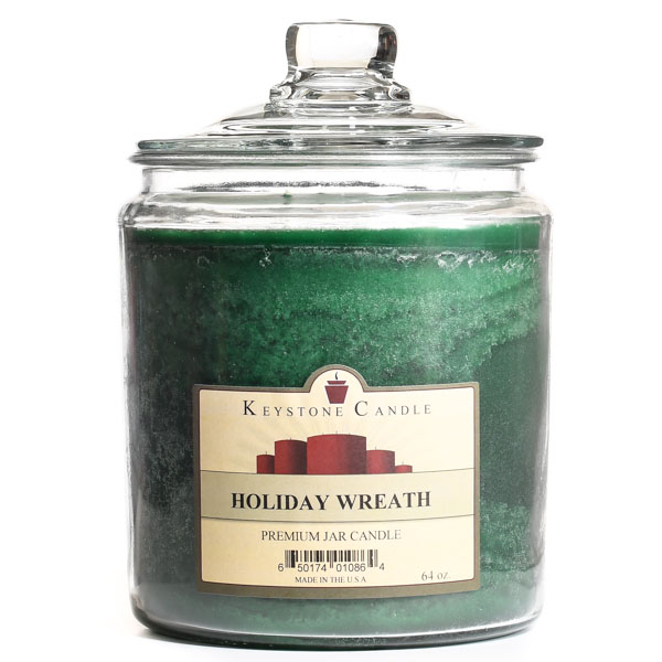 64 oz Holiday Wreath Jar Candles