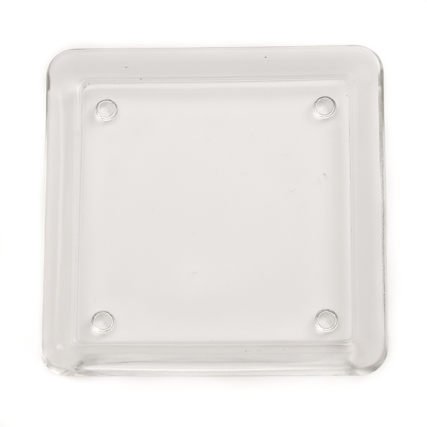 Square 5 Inch Glass Candle Plate