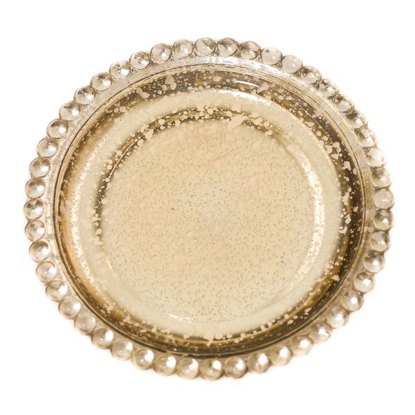 Gold Beaded Pillar Plates 5 Inch