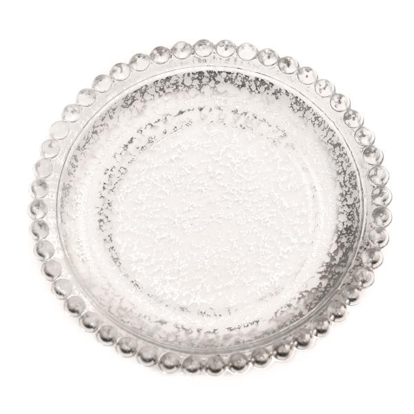 Silver Beaded Pillar Plates 5 Inch