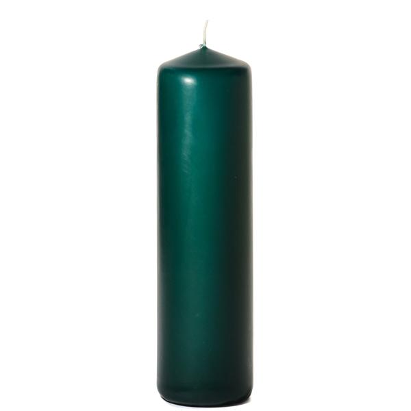 3x11 Hunter Green Pillar Candles Unscented