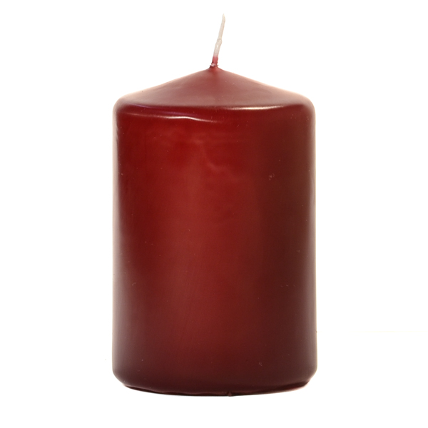 3x4 Burgundy Pillar Candles Unscented