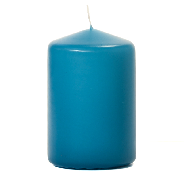 3x4 Mediterranean Blue Pillar Candles Unscented