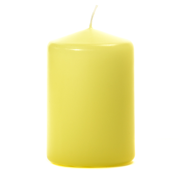 3x4 Pale Yellow Pillar Candles Unscented