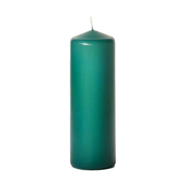 3x9 Forest Green Pillar Candles Unscented