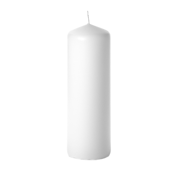 3x9 White Pillar Candles Unscented