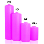 3x12 Hot Pink Pillar Candles Unscented