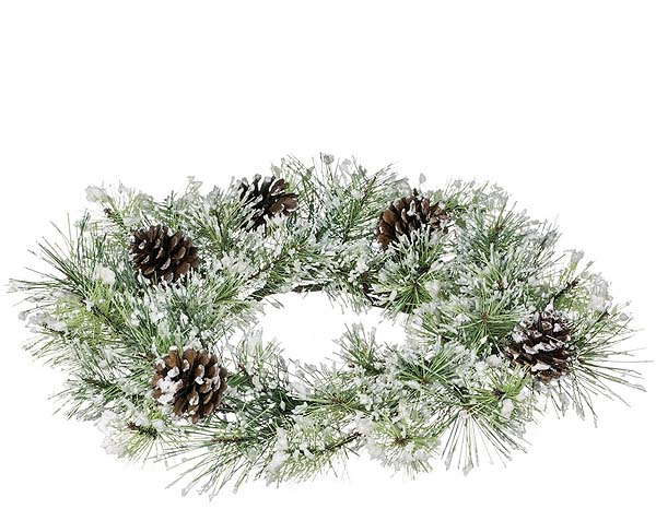 Snow Pine Candle Rings 6.5 Inch