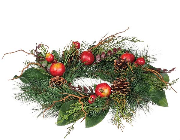 Pine and Pomegranate Candle Rings 6.5 Inch