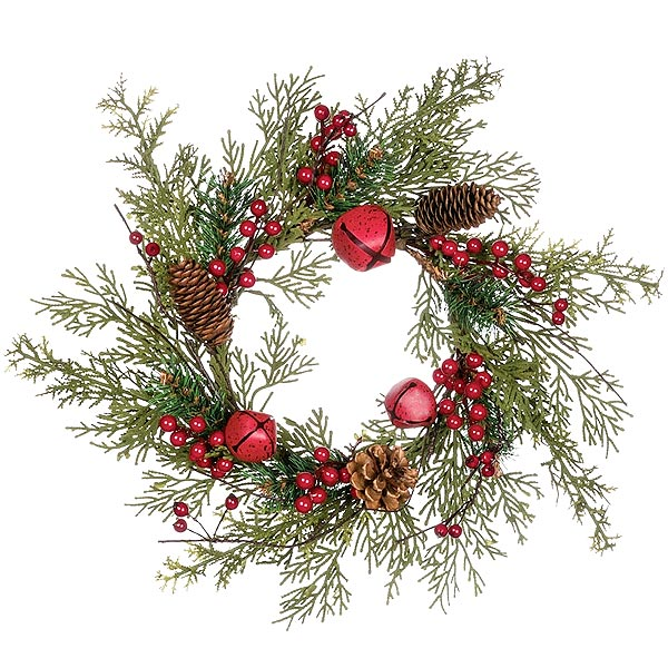 Pine Bell Berry 6 Inch Candle Rings