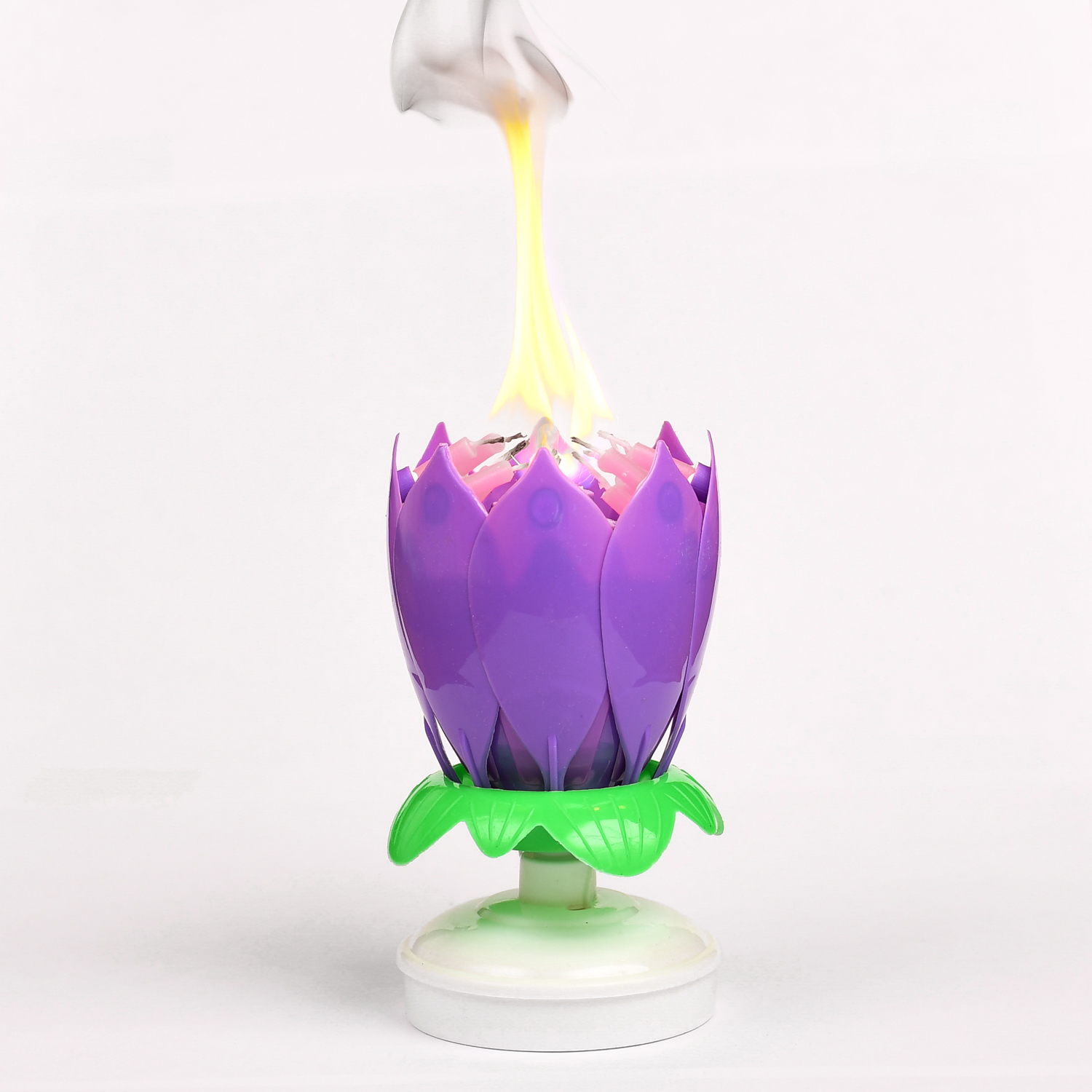 Musical Flower Birthday Candles Purple