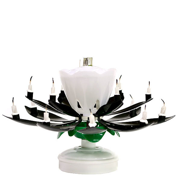 Black Flower Musical Birthday Candles Lotus Spinning