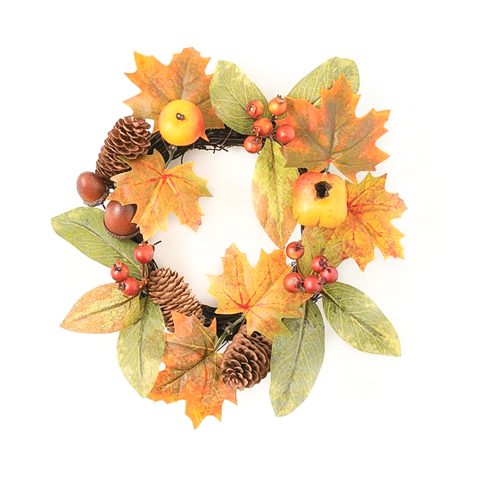 Foliage Mixed Fruit Candle Ring 4.5 Inch