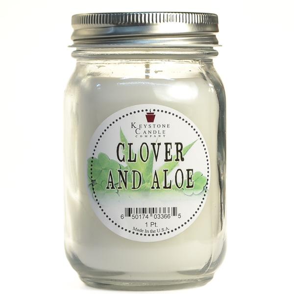 Pint Mason Jar Candle Clover and Aloe