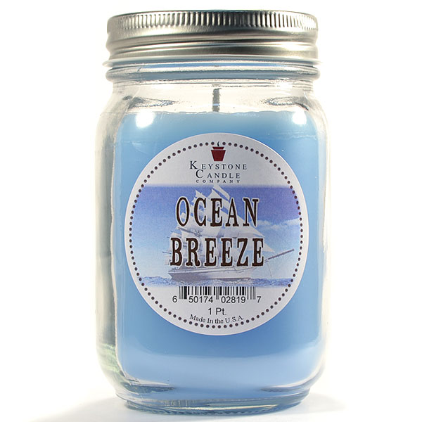 Pint Mason Jar Candle Ocean Breeze