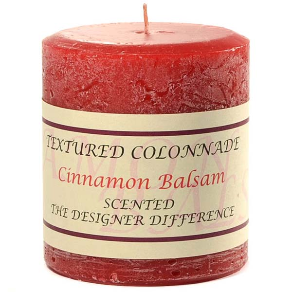 Textured 3x3 Cinnamon Balsam Pillar Candles