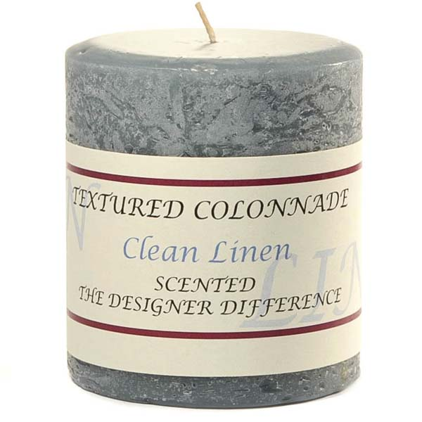 Textured 3x3 Clean Cotton Pillar Candles