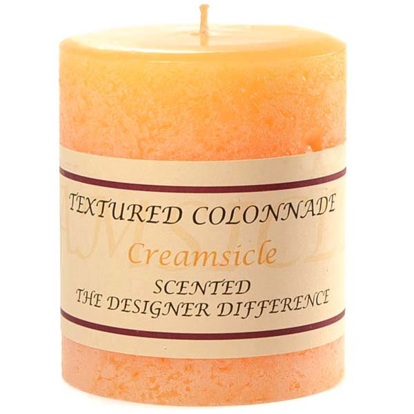 Textured 3x3 Creamsicle Pillar Candles