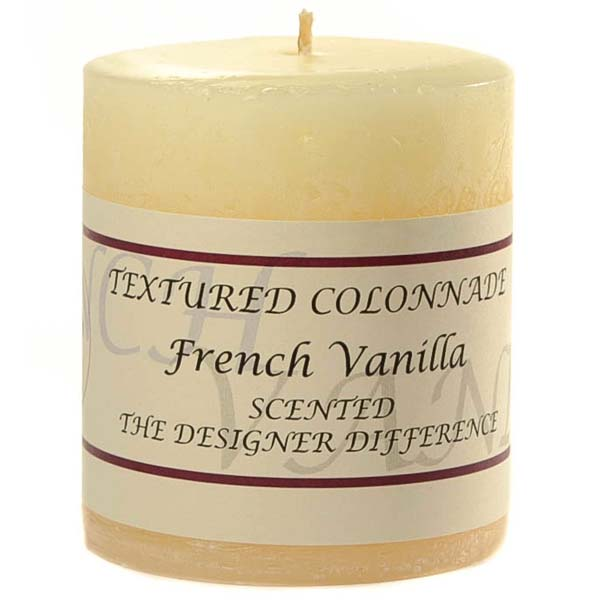 Textured 3x3 French Vanilla Pillar Candles