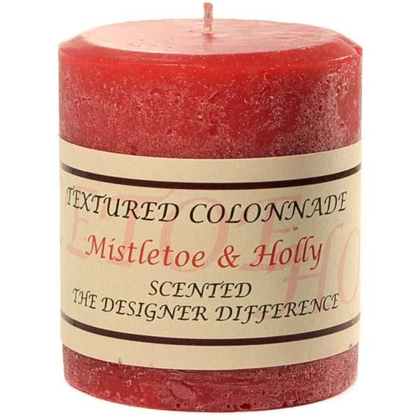 Textured 3x3 Mistletoe and Holly Pillar Candles