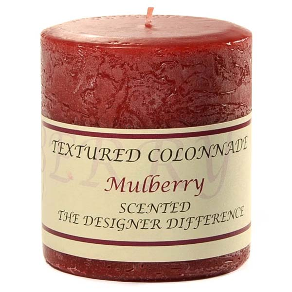 Textured 3x3 Mulberry Pillar Candles