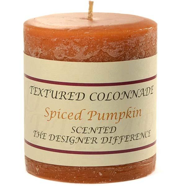 Textured 3x3 Spiced Pumpkin Pillar Candles