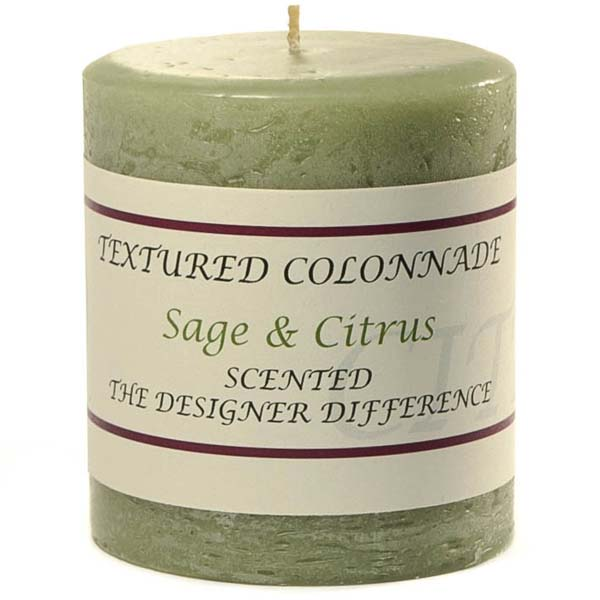 Textured 3x3 Sage and Citrus Pillar Candles