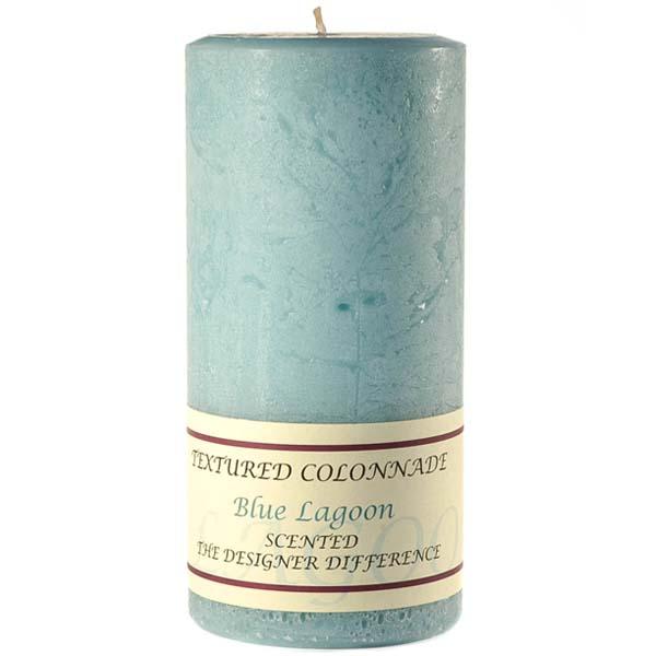 Textured 4x9 Blue Lagoon Pillar Candles