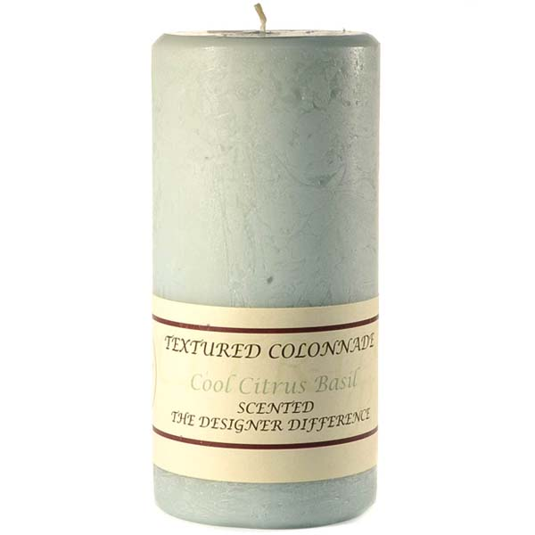 Textured 4x9 Cool Citrus Basil Pillar Candles
