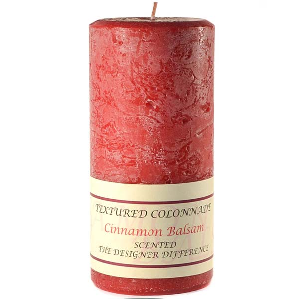 Textured 3x6 Cinnamon Balsam Pillar Candles