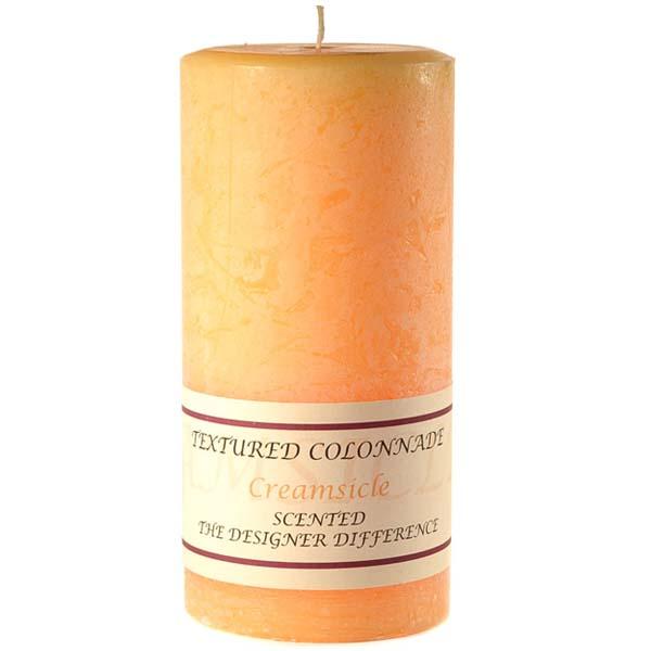 Textured 4x9 Creamsicle Pillar Candles