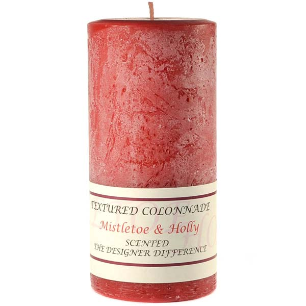 Textured 3x6 Mistletoe and Holly Pillar Candles