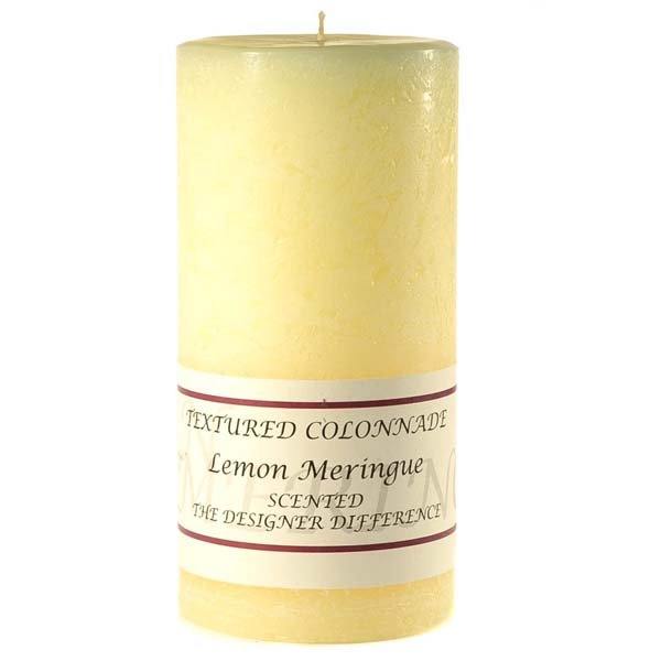 Textured 3x6 Lemon Meringue Pillar Candles