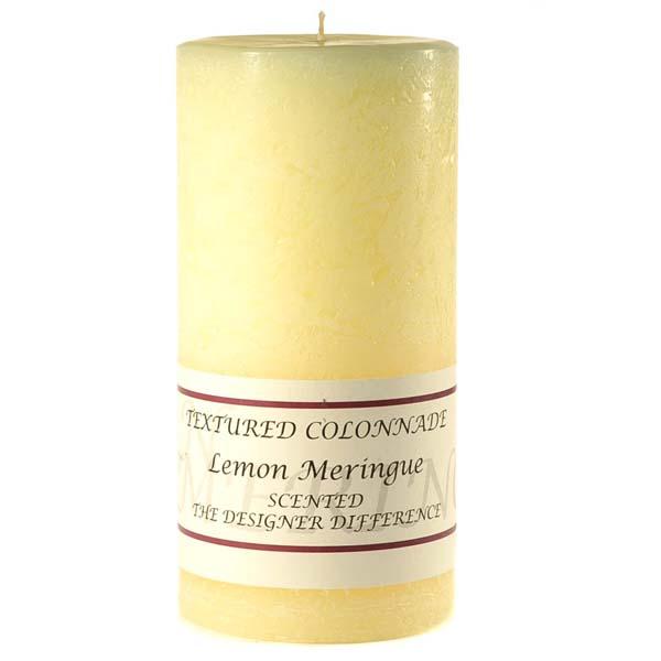 Textured 4x9 Lemon Meringue Pillar Candles