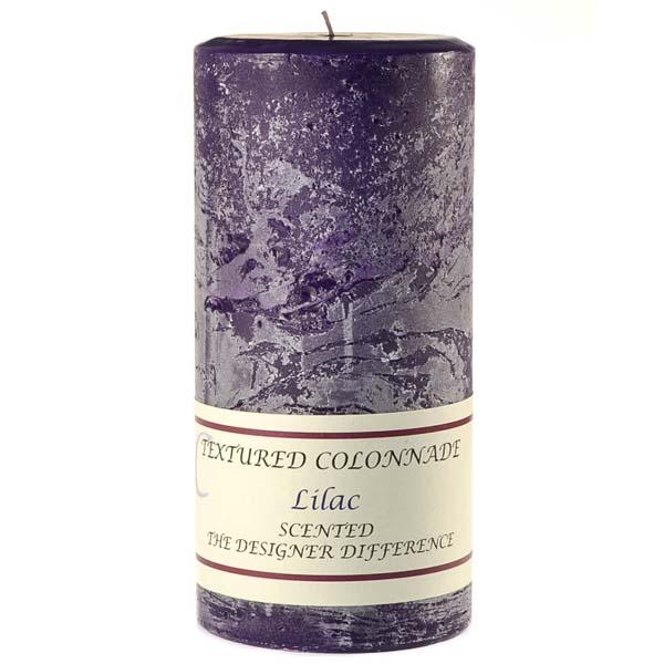 Textured 4x9 Lilac Pillar Candles