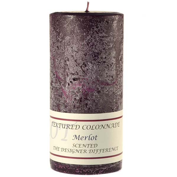 Textured 4x9 Merlot Pillar Candles