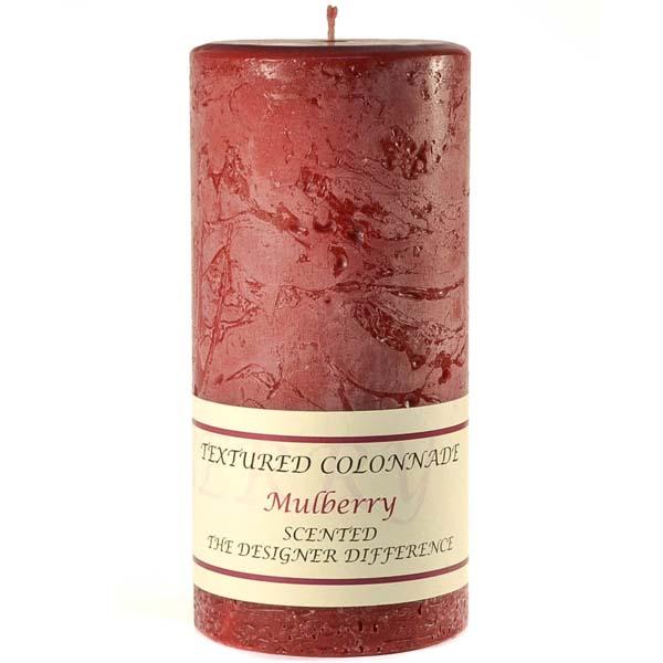Textured 4x9 Mulberry Pillar Candles