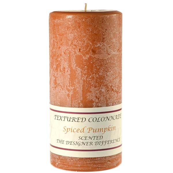 Textured 3x6 Spiced Pumpkin Pillar Candles
