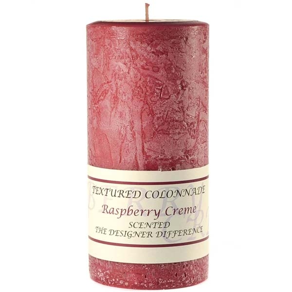Textured 3x6 Raspberry Cream Pillar Candles