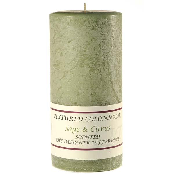 Textured 4x9 Sage and Citrus Pillar Candles