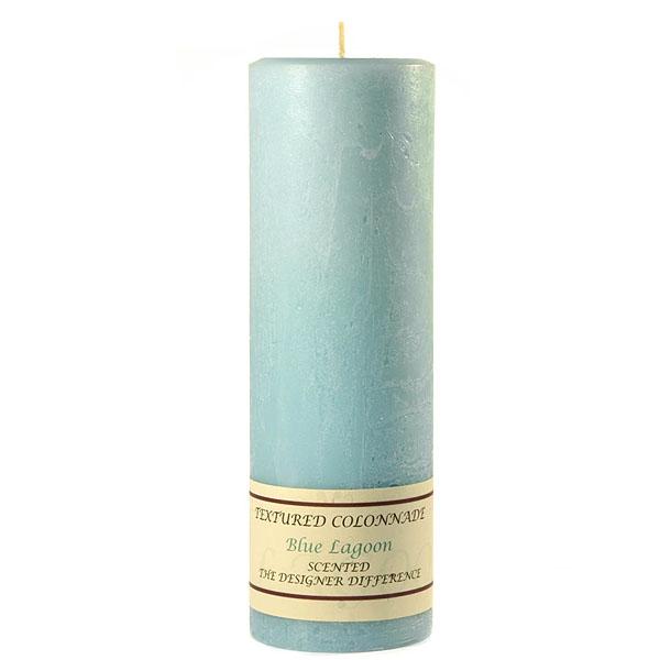 Textured 3x9 Blue Lagoon Pillar Candles