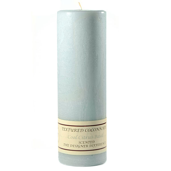 Textured 3x9 Cool Citrus Basil Pillar Candles